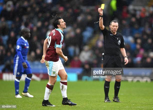 Joey Barton of Burnley is shown a yellow card during the Premier League match between Burnley and Chelsea at Turf Moor on February 12 2017 in Burnley...