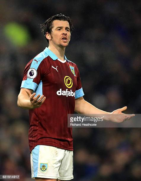 Joey Barton of Burnley reacts during the Emirates FA Cup third round replay between Burnley and Sunderland at Turf Moor on January 17 2017 in Burnley...