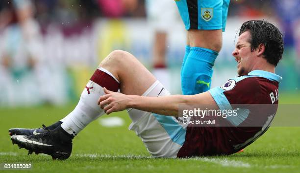 Joey Barton of Burnley reacts during the Premier League match between Burnley and Chelsea at Turf Moor on February 12 2017 in Burnley England