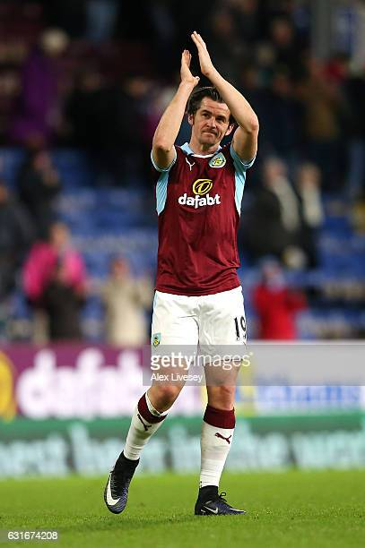 Joey Barton of Burnley shows appreciation to the fans during the Premier League match between Burnley and Southampton at Turf Moor on January 14 2017...