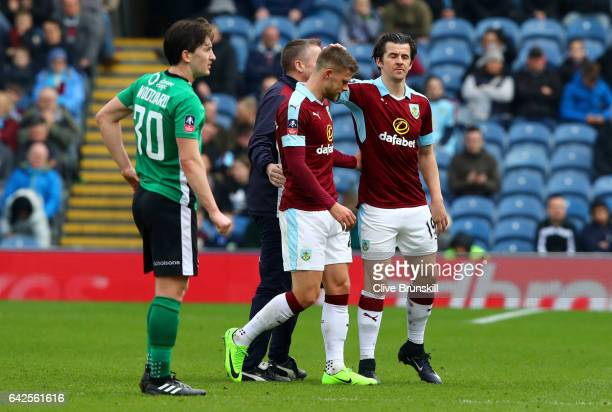 Joey Barton of Burnley speaks to Johann Gudmundsson of Burnley after the later is forced off due to injury during The Emirates FA Cup Fifth Round...