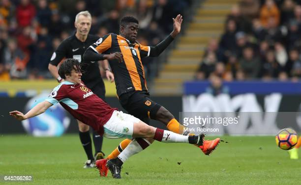 Joey Barton of Burnley tackles Alfred N'Diaye of Hull City during the Premier League match between Hull City and Burnley at KCOM Stadium on February...
