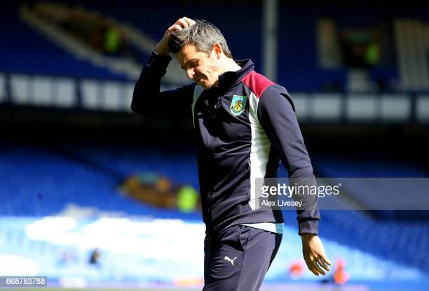 Joey Barton of Burnley takes a look around the pitch prior to the Premier League match between Everton and Burnley at Goodison Park on April 15 2017...