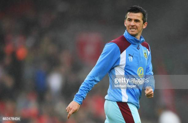 Joey Barton of Burnley warms up prior to the Premier League match between Liverpool and Burnley at Anfield on March 12 2017 in Liverpool England