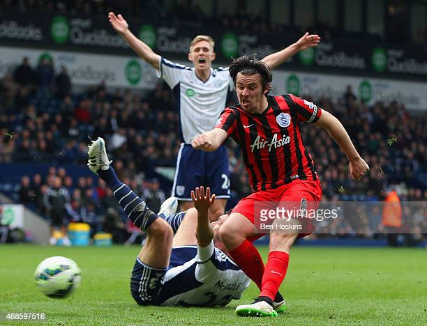 Joey Barton of QPR celebrates scores their fourth goal during the Barclays Premier league match West Bromwich Albion and Queens Park Rangers at The...