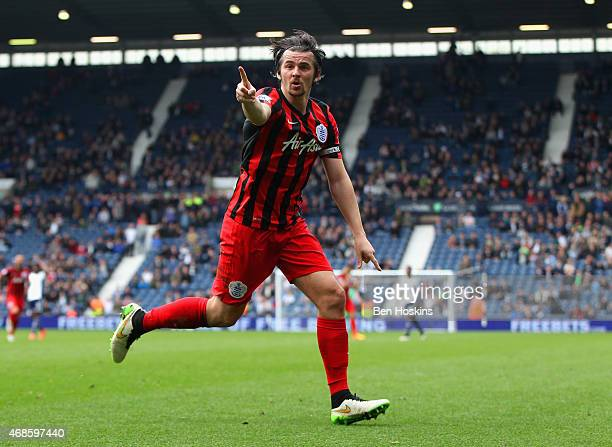 Joey Barton of QPR celebrates scoring their fourth goal during the Barclays Premier league match West Bromwich Albion and Queens Park Rangers at The...