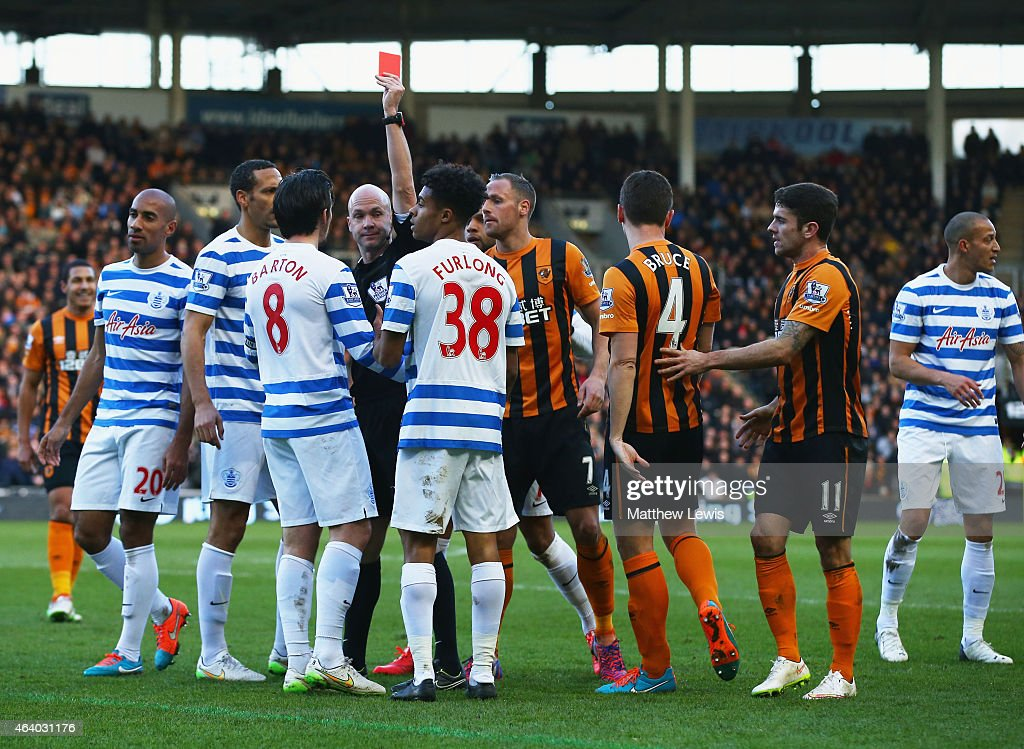 <a gi-track='captionPersonalityLinkClicked' href=/galleries/search?phrase=Joey+Barton&family=editorial&specificpeople=211284 ng-click='$event.stopPropagation()'>Joey Barton</a> of QPR (8) is shown a red card and is sent off by referee Anthony Taylor during the Barclays Premier League match between Hull City and Queens Park Rangers at KC Stadium on February 21, 2015 in Hull, England.