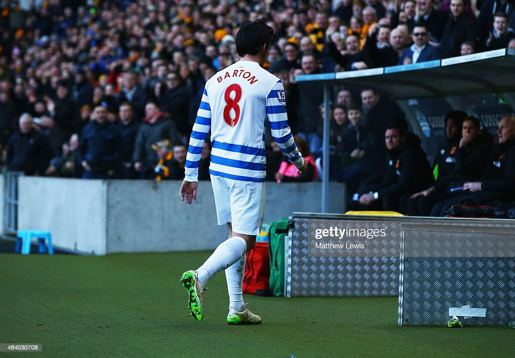 <a gi-track='captionPersonalityLinkClicked' href=/galleries/search?phrase=Joey+Barton&family=editorial&specificpeople=211284 ng-click='$event.stopPropagation()'>Joey Barton</a> of QPR looks despondent as he is sent off during the Barclays Premier League match between Hull City and Queens Park Rangers at KC Stadium on February 21, 2015 in Hull, England.