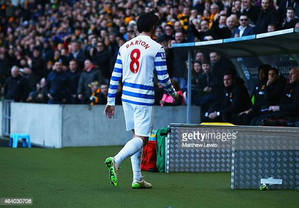 Joey Barton of QPR looks despondent as he is sent off during the Barclays Premier League match between Hull City and Queens Park Rangers at KC...