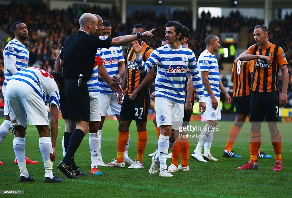 <a gi-track='captionPersonalityLinkClicked' href=/galleries/search?phrase=Joey+Barton&family=editorial&specificpeople=211284 ng-click='$event.stopPropagation()'>Joey Barton</a> of QPR reacts as he is sent off by referee Anthony Taylor during the Barclays Premier League match between Hull City and Queens Park Rangers at KC Stadium on February 21, 2015 in Hull, England.