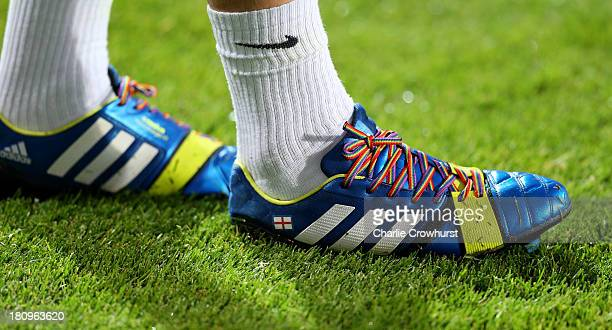 Joey Barton of QPR wears rainbowcoloured shoe laces as part of a campaign against homophobia in football during the Sky Bet Championship match...