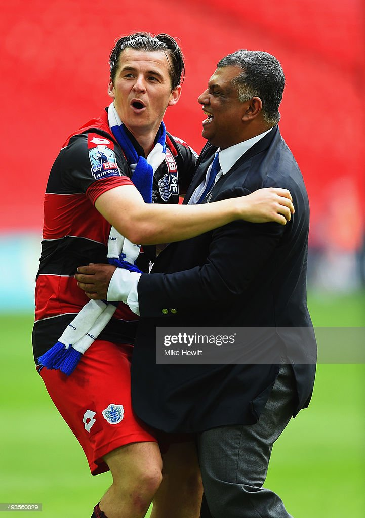 <a gi-track='captionPersonalityLinkClicked' href=/galleries/search?phrase=Joey+Barton&family=editorial&specificpeople=211284 ng-click='$event.stopPropagation()'>Joey Barton</a> of Queens Park Rangers celebrates with Queens Park Rangers Chairman <a gi-track='captionPersonalityLinkClicked' href=/galleries/search?phrase=Tony+Fernandes&family=editorial&specificpeople=2103805 ng-click='$event.stopPropagation()'>Tony Fernandes</a> following their victory during the Sky Bet Championship Playoff Final between Derby County and Queens Park Rangers at Wembley Stadium on May 24, 2014 in London, England.