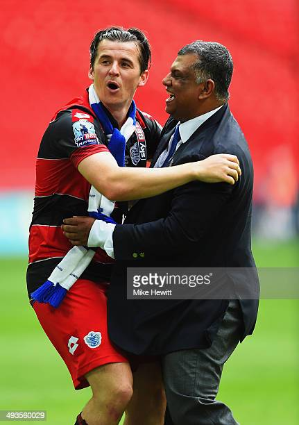 Joey Barton of Queens Park Rangers celebrates with Queens Park Rangers Chairman Tony Fernandes following their victory during the Sky Bet...