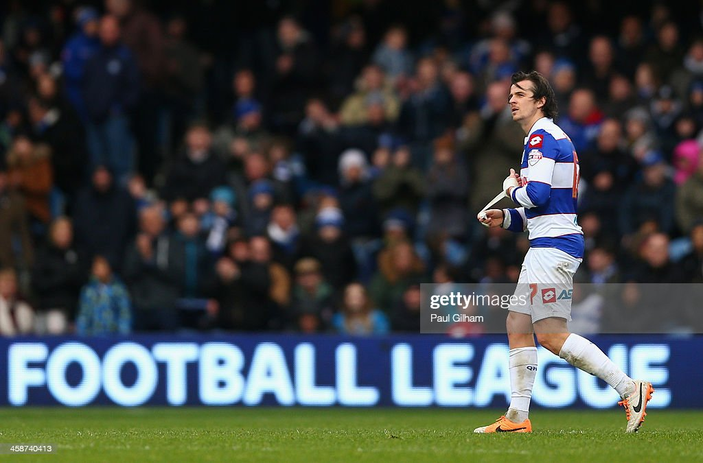 <a gi-track='captionPersonalityLinkClicked' href=/galleries/search?phrase=Joey+Barton&family=editorial&specificpeople=211284 ng-click='$event.stopPropagation()'>Joey Barton</a> of Queens Park Rangers walks off the pitch after being bsent off during the Sky Bet Championship match between Queens Park Rangers and Leicester City at Loftus Road on December 21, 2013 in London, England.
