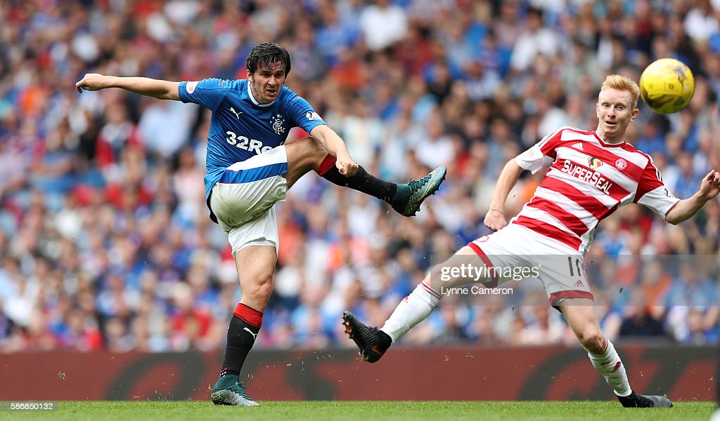 Joey Barton of Rangers and Alister Crawford of Hamilton Academical during the Ladbrokes Scottish Premiership match between Rangers and Hamilton Academical at Ibrox Stadium on August 6, 2016 in Glasgow, Scotland.