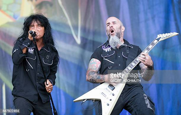 Joey Belladonna and guitarist Scott Ian of Anthrax perform at the Rock in Vienna festival on June 3 2016 in Vienna Austria / AFP / APA / GEORG...
