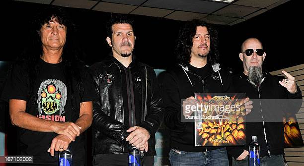 Joey Belladonna Charlie Benante Frank Bello and Scott Ian of Anthrax attend Record Store Day 2013 at JR Music and Computer World on April 20 2013 in...
