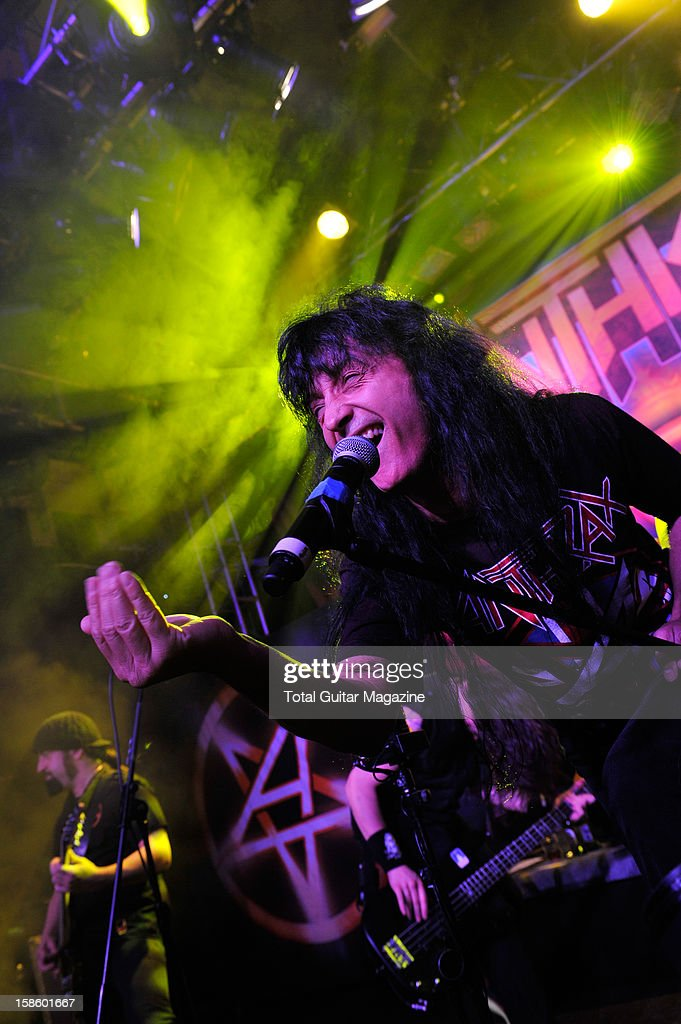 Joey Belladonna of American heavy metal band Anthrax performing on stage at the O2 Academy Islington March 15 2012