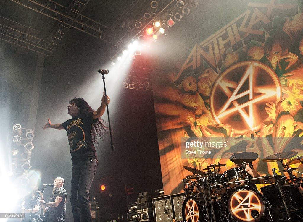 Joey Belladonna of Anthrax performs on stage at Wolverhampton Civic Hall on November 5, 2012 in Wolverhampton, United Kingdom.