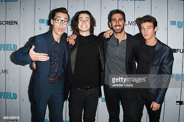 Joey Bragg Nash Grier George Strompolos and Cameron Dallas arrive at the Fullscreen Films presents the premiere of 'The Outfield' at AMC CityWalk...