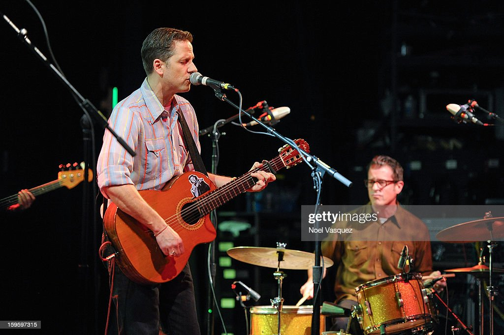 Joey Burns (L) and John Convertino of Calexico perform at El Rey Theatre on January 16, 2013 in Los Angeles, California.