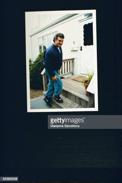 Joey Buttafuoco standing on the front steps outside his home his alleged lover 16yearold Amy Fisher shot his wife Mary Jo in the head leaving her...