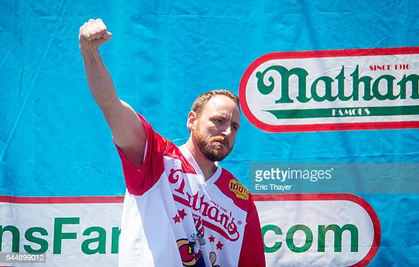 Joey Chestnut arrives during the annual Hot Dog Eating Contest at Coney Island July 4 2016 in New York City Joey Chestnut retook the crown eating 70...