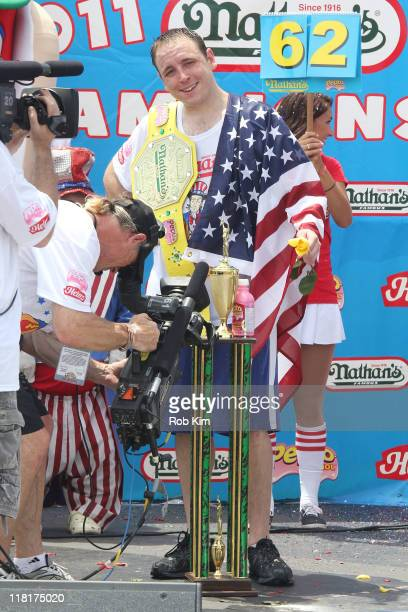 Joey Chestnut attends the 2011 Nathan's Famous Fourth Of July International Hot Dog Eating Contest in Coney Island on July 4 2011 in the Brooklyn...