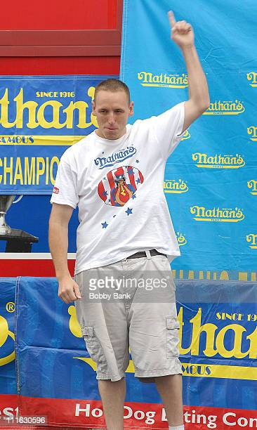 Joey Chestnut during 92nd Annual Nathan's Famous International Hot Dog Eating Contest at Nathan's Famous in New York City New York United States