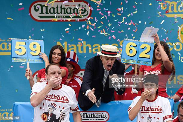 Joey Chestnut is defeated by Matt Stonie at The Nathan's Famous Fourth of July International Hot DogEating Contest in Coney Island New York on July 4...