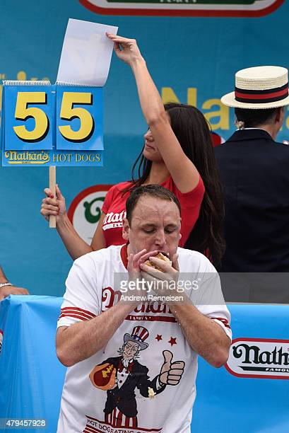 Joey Chestnut on his 55th hot dog at The Nathan's Famous Fourth of July International Hot DogEating Contest in Coney Island New York on July 4 2015...