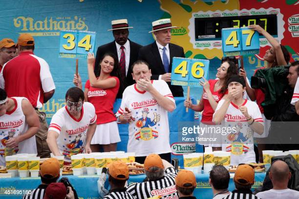 Joey Chestnut wins the 98th annual 2014 Nathan's Famous Hot Dog Eating Contest at Coney Island on July 4 2014 in the Brooklyn borough of New York...