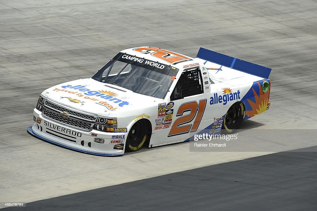 Joey Coulter, driver of the #21 Allegiant Travel Chevrolet drives during practice for the NASCAR Camping World Truck Series UNOH 200 presented by ZLOOP at Bristol Motor Speedway on August 20, 2014 in Bristol, Tennessee.