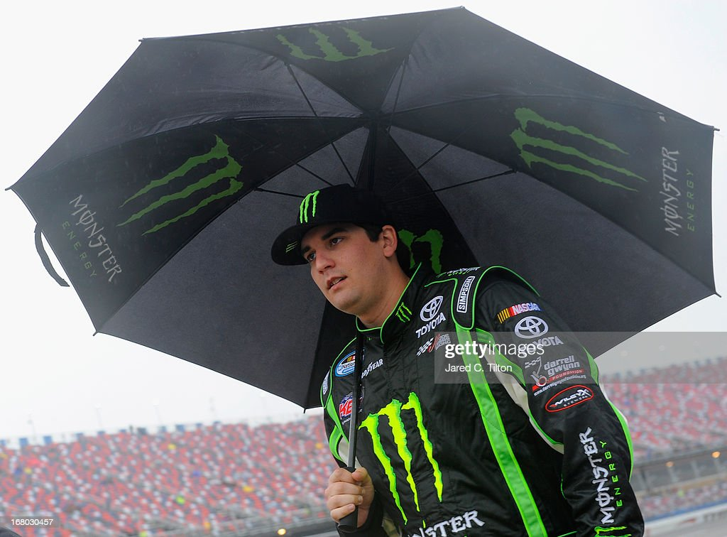 Joey Coulter, driver of the #54 Monster Energy Toyota, walks down pit road prior to driver introductions for the NASCAR Nationwide Series Aaron's 312 at Talladega Superspeedway on May 4, 2013 in Talladega, Alabama.
