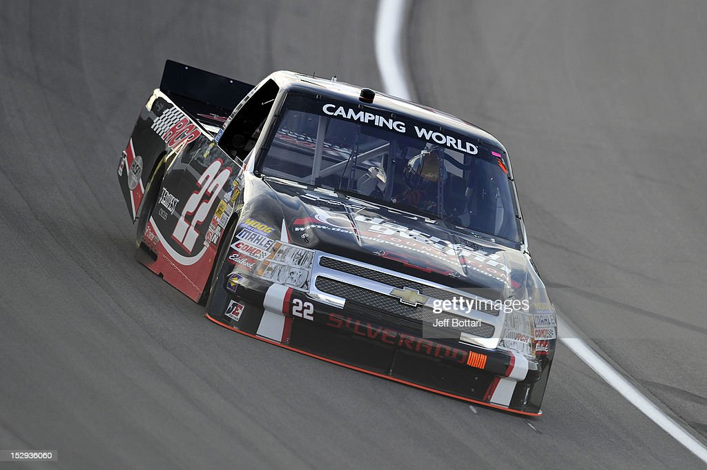 Joey Coulter, driver of the #22 RCR/Darrell Gwynn Foundation Chevrolet, drives during practice for the NASCAR Camping World Truck Series Smith's 350 race at Las Vegas Motor Speedway on September 28, 2012 in Las Vegas, Nevada.