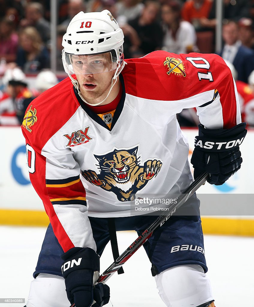 Joey Crabb of the Florida Panthers looks on during the game against the Anaheim Ducks on March 23 2014 at Honda Center in Anaheim California