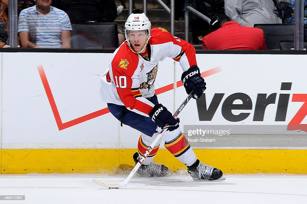Joey Crabb of the Florida Panthers skates with the puck against the Los Angeles Kings at Staples Center on March 22 2014 in Los Angeles California