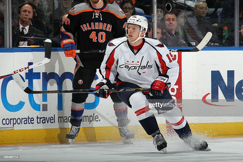 Joey Crabb of the Washington Capitals skates against the New York Islanders at the Nassau Veterans Memorial Coliseum on March 9 2013 in Uniondale New...