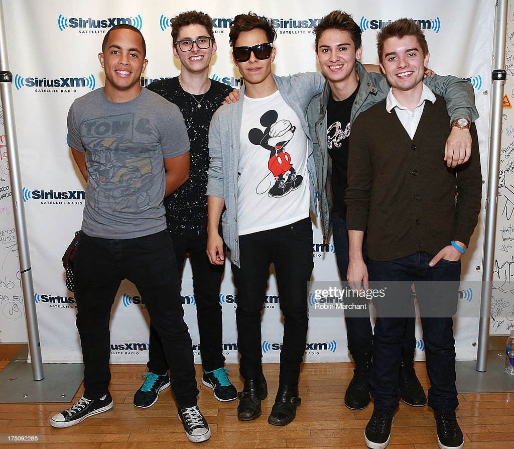 Joey Diggs Jr., Eric Secharia, Thomas Augusto, Anthony Ladao and Colton Rudloff of Midnight Red visit at SiriusXM Studios on July 31, 2013 in New York City.