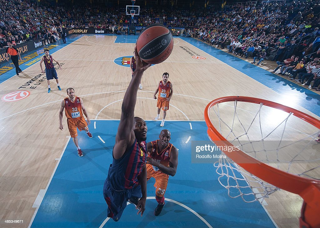 Joey Dorsey, #6 of FC Barcelona in action during the Turkish Airlines Euroleague Basketball Play Off Game 2 between FC Barcelona Regal v Galatasaray Liv Hospital Istanbul at Palau Blaugrana on April 17, 2014 in Barcelona, Spain.