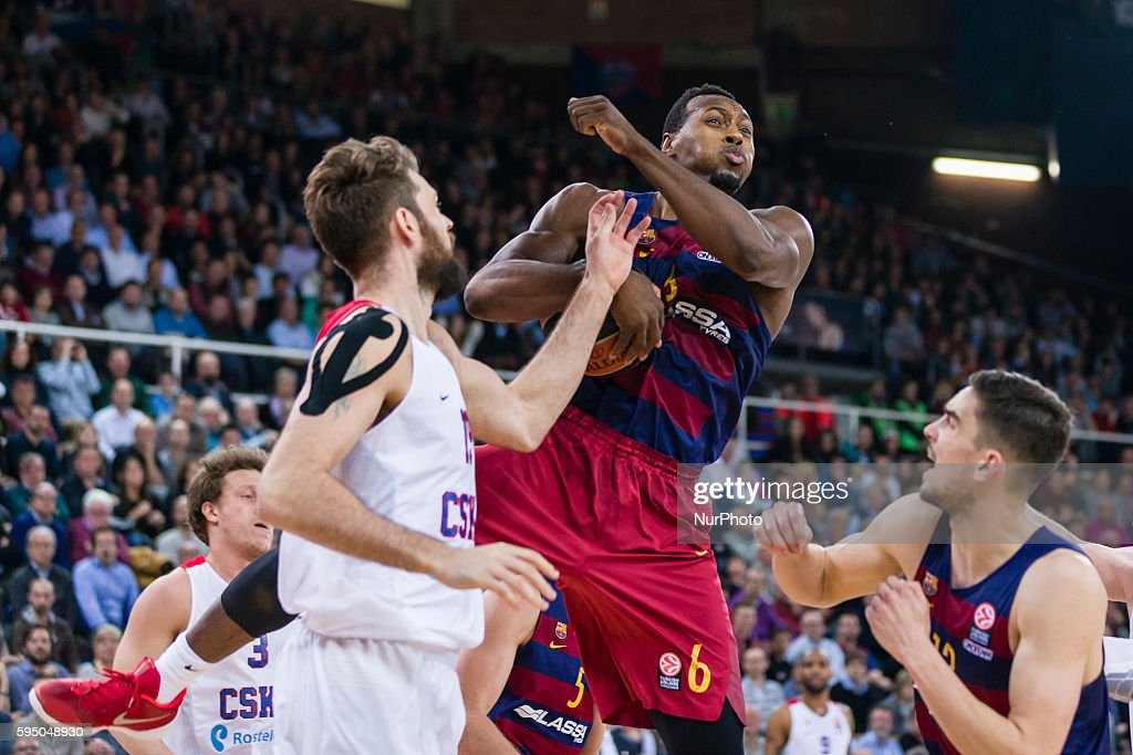 Joey Dorsey and Joel Freeland during the Euroleague match between FC Barcelona Lassa CSKA Moscow for the Top16 Round 10 played at Palau Blaugrana on...
