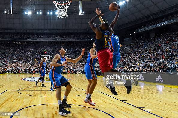 Joey Dorsey of Oklahoma City Thunder dunks the ball during the NBA Global Games Spain 2016 match between FC Barcelona Lassa and Oklahoma City Thunder...