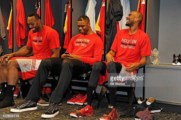 Joey Dorsey Terrence Jones and Corey Brewer of the Houston Rockets in the locker room before Game Three of the Western Conference Semifinals against...
