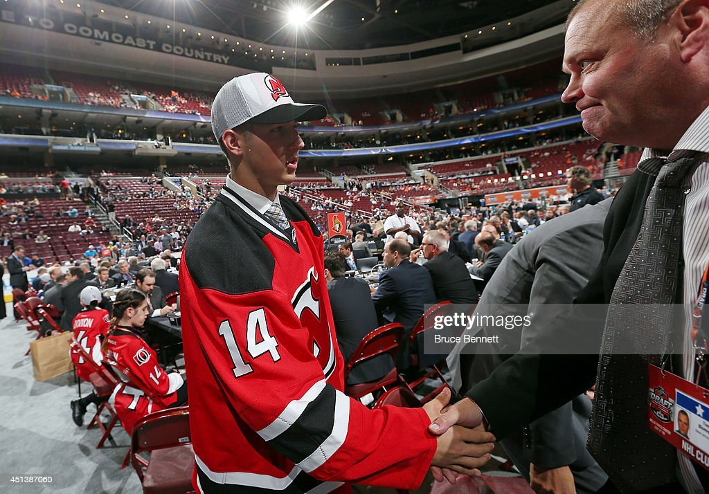 Joey Dudek meets his team after being drafted #152 by the New Jersey Devils on Day Two of the 2014 NHL Draft at the Wells Fargo Center on June 28, 2014 in Philadelphia, Pennsylvania.