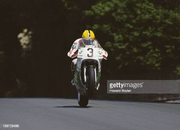 Joey Dunlop of Great Britain during the Formula One International Isle of Man TT Race on 7th June 1992 on the Isle of Man United Kingdom