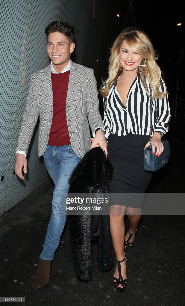 Joey Essex and <a gi-track='captionPersonalityLinkClicked' href=/galleries/search?phrase=Sam+Faiers&family=editorial&specificpeople=7324872 ng-click='$event.stopPropagation()'>Sam Faiers</a> at Cafe De Paris night club on January 19, 2013 in London, England.