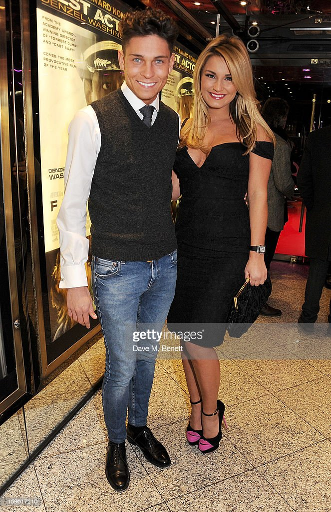 Joey Essex (L) and Sam Faiers attend the UK Premiere of 'Flight' at the the Empire Leicester Square on January 17, 2013 in London, England.
