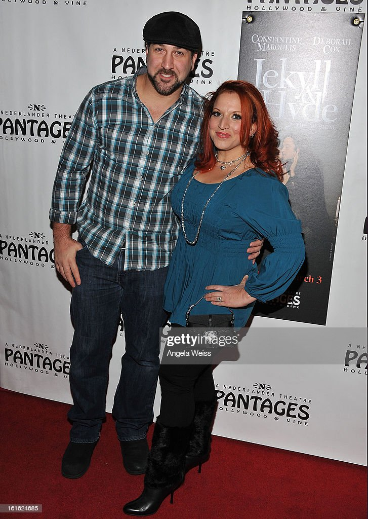 Joey Fatone (L) and guest arrive at the opening night of 'Jekyll & Hyde' held at the Pantages Theatre on February 12, 2013 in Hollywood, California.