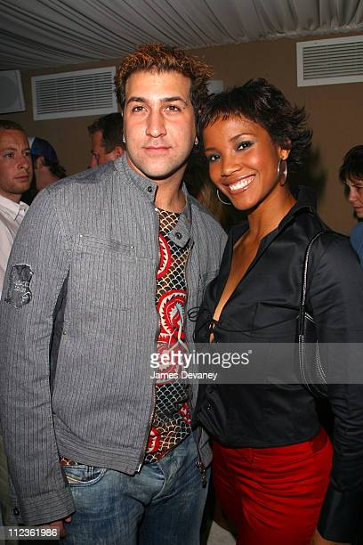 Joey Fatone and Miss USA Shauntay Hinton during Boyz II Men album release party at Club Suede in New York City New York United States