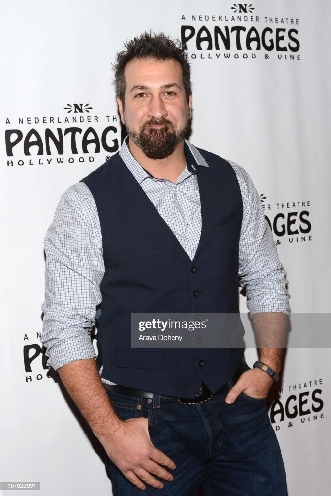 Joey Fatone arrives at the 'Donny & Marie Christmas In Los Angeles' - Opening Night Performance at the Pantages Theatre on December 4, 2012 in Hollywood, California.